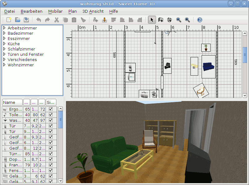SweetHome3D/ Screenshot von UbuntuUsers